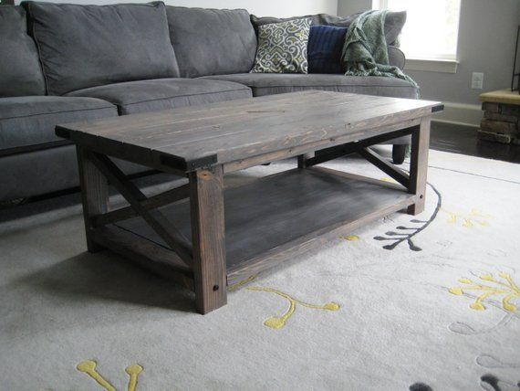 Rustic X Distressed Handmade Coffee Table Grey Wood