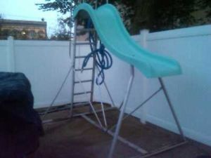 Above ground pool slide. Pinning this as a diagram for building our own.