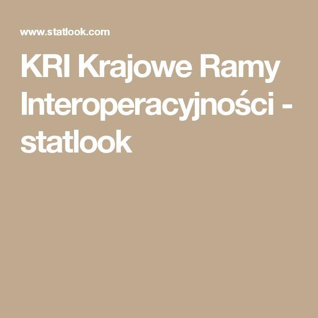 KRI Krajowe Ramy Interoperacyjności - statlook