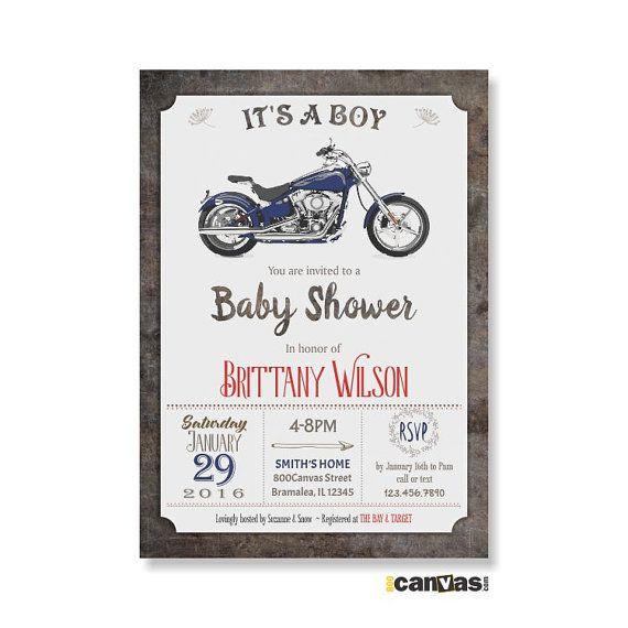 MOTORBIKE BABY Shower Invitation. Motorcycle Baby Shower Invites. It's A Boy Baby Shower. Retro Baby Boy Shower Invite. Bike Baby Shower 159