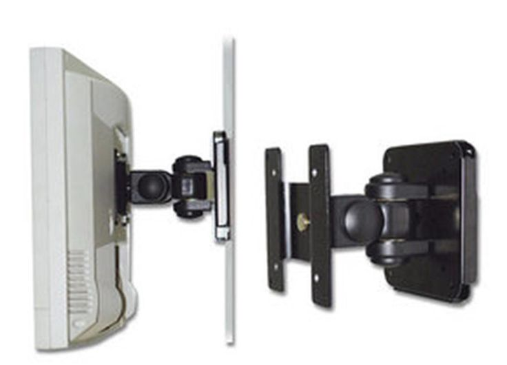 LINDY 40721 LCD Wall Bracket, Black. Supports LCD monitors weighing up to a maximum of 15kg. Left, right, tilt and rotary adjustment. Conforms to the VESA mounting standards of 75 x 75mm and 100 x 100mm. Please note: Please check your TV is under the maximum supported weight before order.