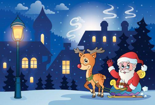 Cena de inverno com tema de natal 6 - ilustração de arte em vetor