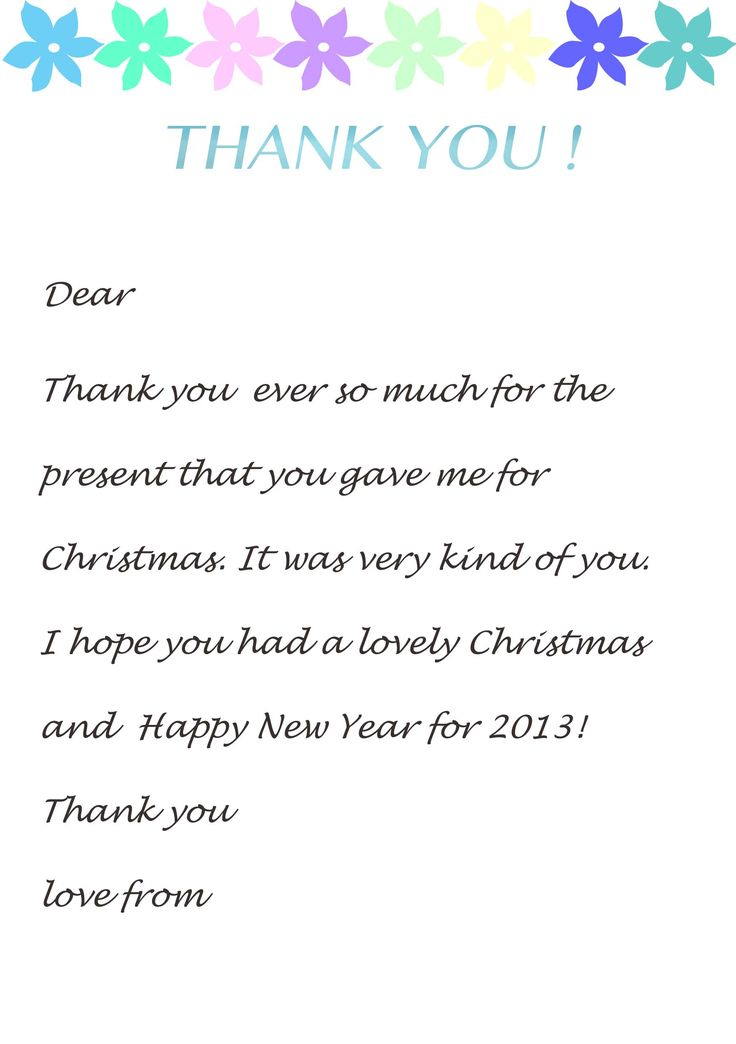 Thank You Letter Template For Kids