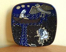 Arabia Finland Raija Uosikkinen Annual Plate 1980 Kalevala Väinömöinen Mid century ceramic Art Collectible