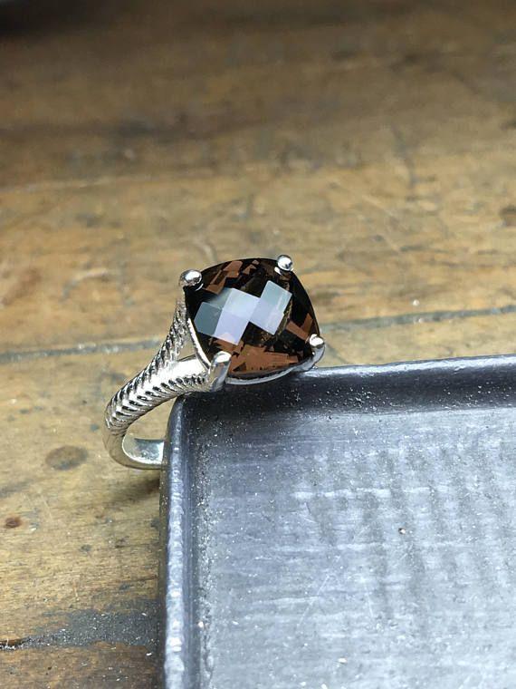 Smoky Topaz Ring Smoky Topaz Engagement Ring Smoky Ring