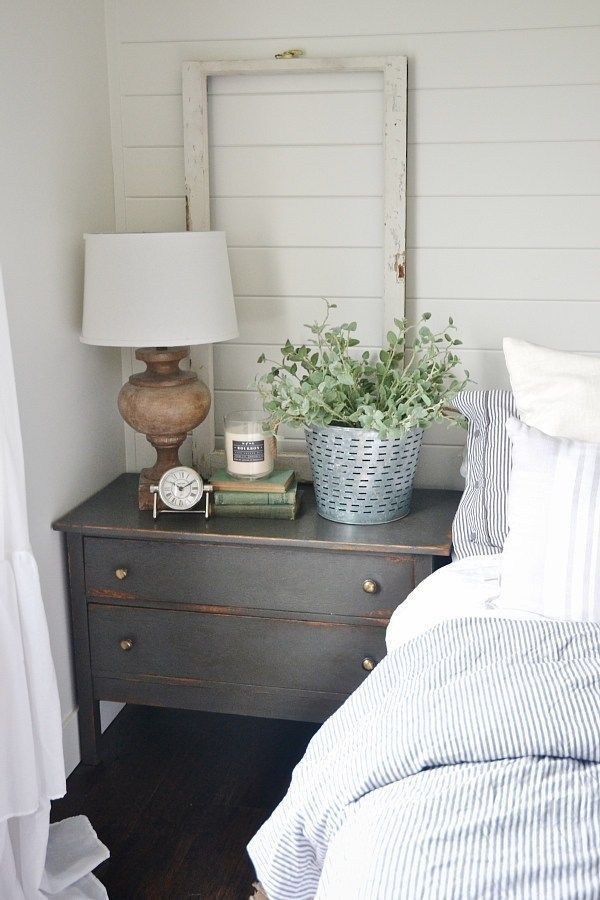 neutral master bedroom nightstand makeover with magnolia home paint in one horn white a - Cottage Decorating