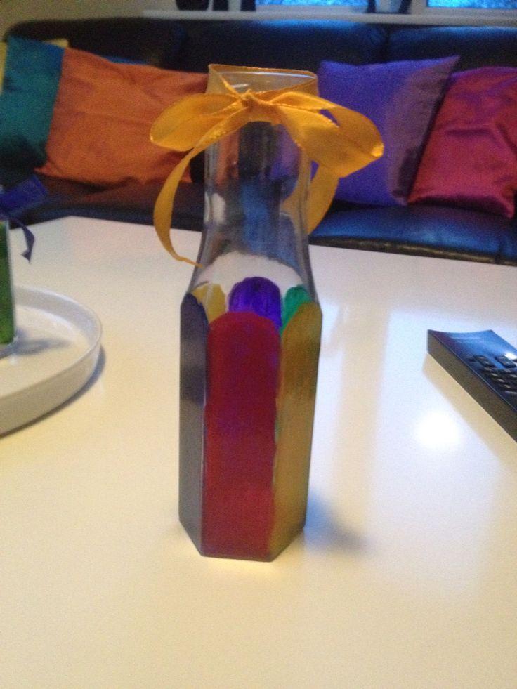 Fik også lavet et par vaser, af flasker fra dressing.