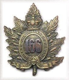 Badge of the 166th Battalion (QOR) Canadian Expeditionary Force, perpetuated by the Queen's Own rifles of Canada