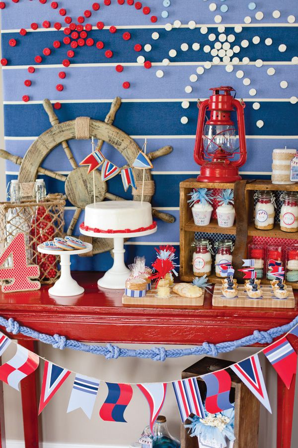 Nautical July 4th party. LOVE the fireworks on the backdrop and the knotted rope used as bunting