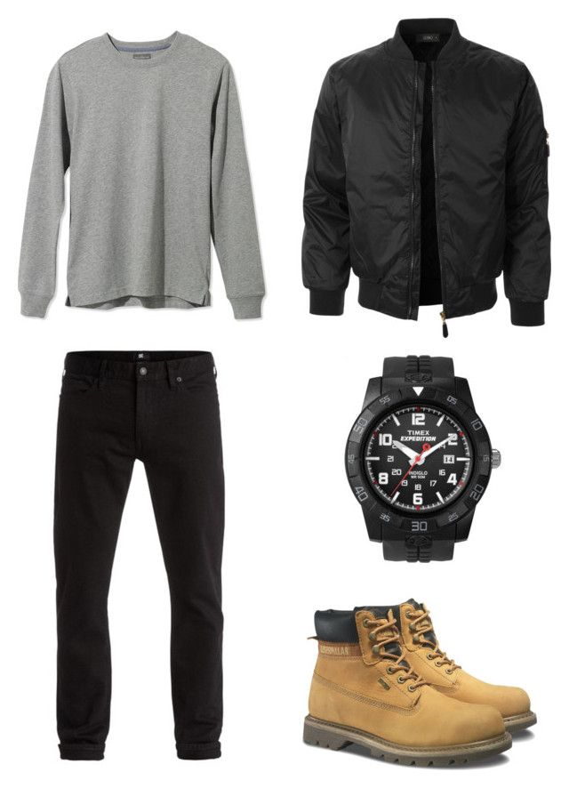 """Без названия #67"" by bazhenovvladislav on Polyvore featuring L.L.Bean, DC Shoes, Caterpillar, Timex, LE3NO, men's fashion и menswear"