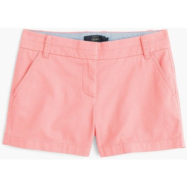 """J.Crew 4"""" Chino Short (18 BHD) ❤ liked on Polyvore featuring shorts, short chino shorts, zipper shorts, j. crew shorts, rainbow shorts and long shorts"""