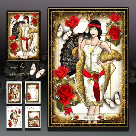 Glitter Flapper with Red Roses Card Kit on Craftsuprint designed by Atlic Snezana - Glitter Flapper with Red Roses Card Kit: 4 sheets for print with decoupage for 3D effect plus few sentiment tags (for your own personal text) - Now available for download!