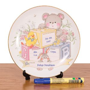 Porcelain Baby Plate & Stand - A thoughtful baby shower gift! New parent can record their baby's name, date of birth, weight, and time of arrival using a permanent marker (included). With hanging hook and plastic stand. $22.98 CAD