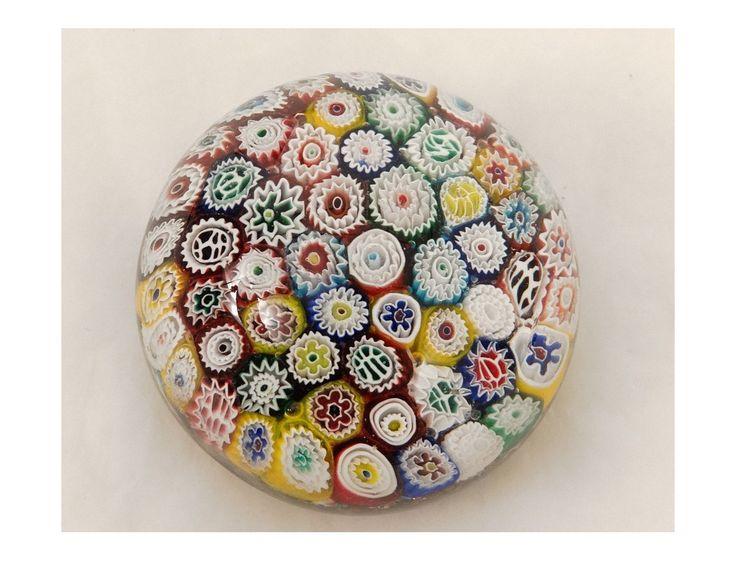Sulfure presse-papier cristal millefiori Murano Italie Venise fleurs XXème - Antiquités du golfe