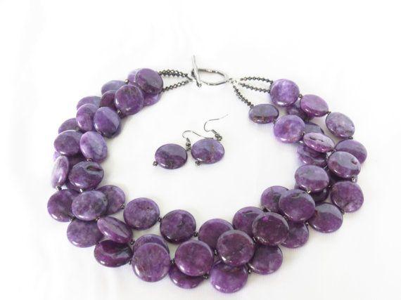 Purple Statement Necklace  Purple Sesame by WildflowersAndGrace, $69.00