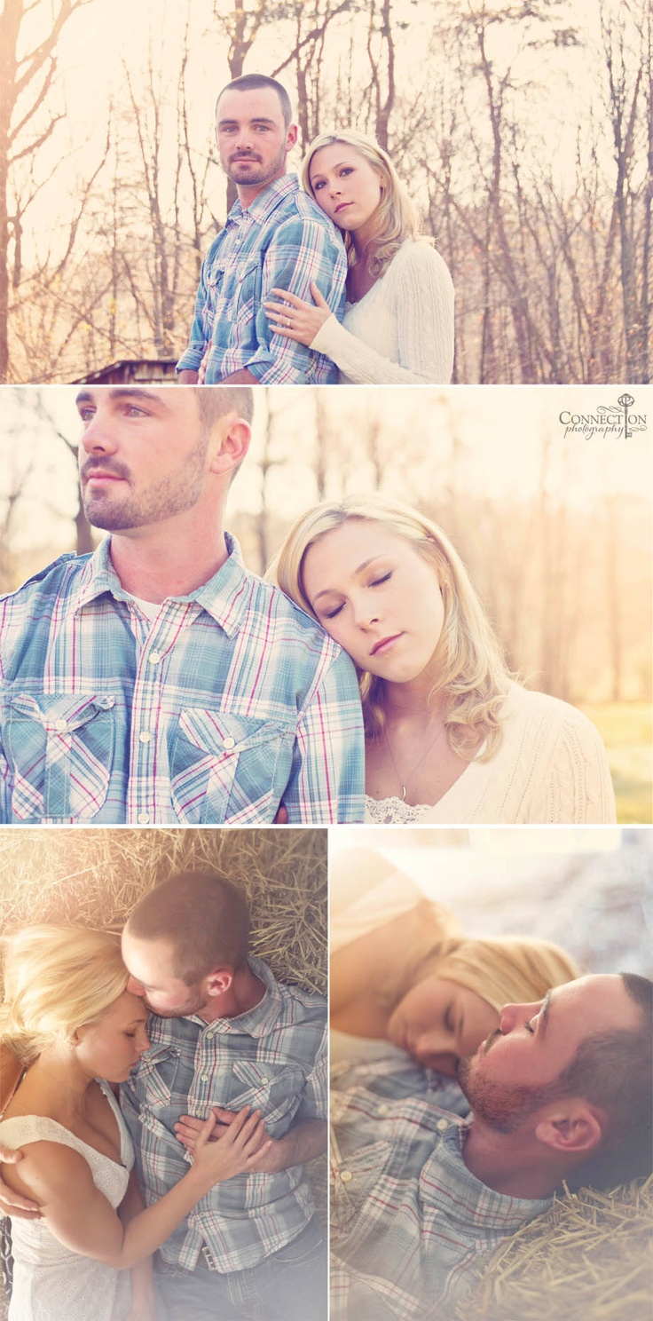 love the bottom pic, laying in the hay. Farm engagement