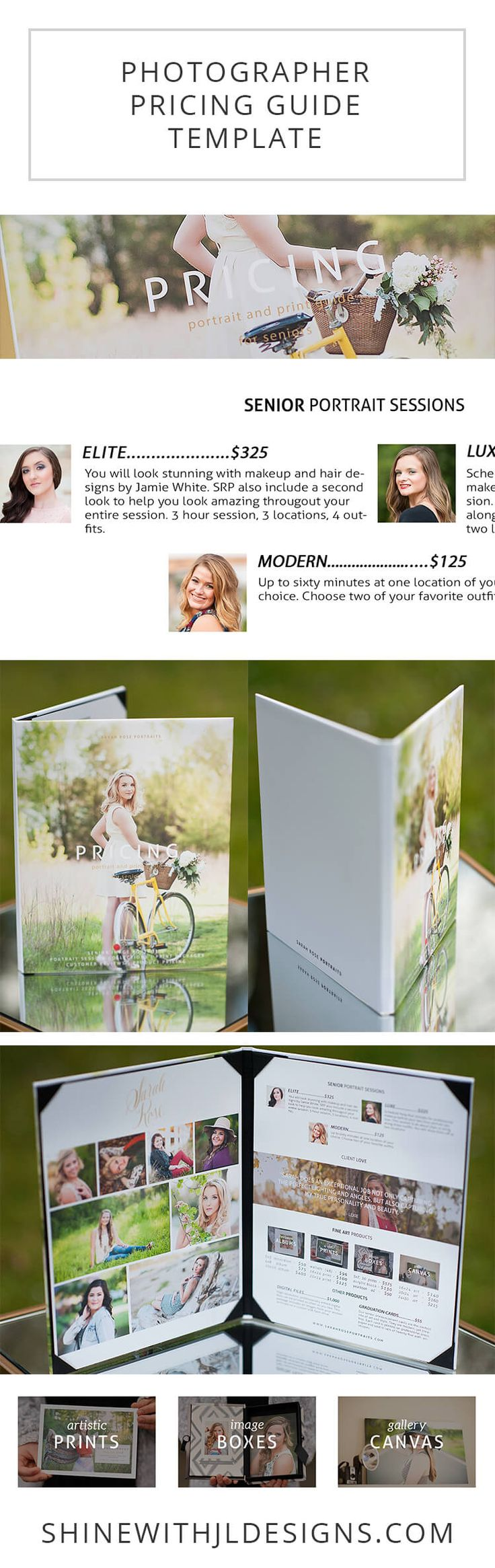 A simple, clean and educational price list template perfect for in-person sales meetings with your senior portrait and photography clients. Show off your portfolio professionally while helping your customers understand your portrait packages and print product pricing structure. Images by @sarahrosephoto