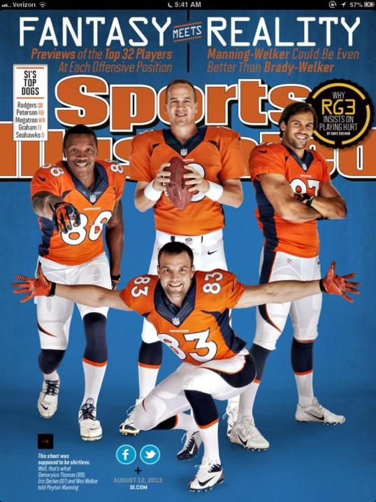 photo of manning, decker, welker | Wes Welker, Peyton Manning Appear on Sports Illustrated Fantasy Cover ...