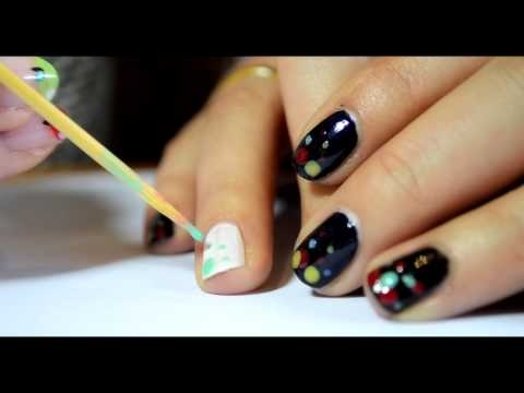 Sweet dots on your nails! :)) See how to use a toothpick to create beautiful and colorful dots!