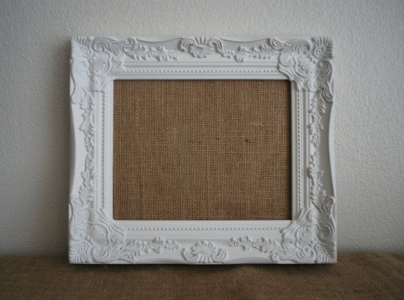 White Framed Memo Board Shabby Chic Home Decor Burlap