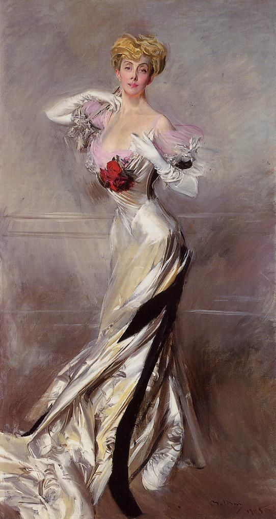 Portrait of the Countess Zichy by Giovanni Boldini,1905.  The curved S-bend silhouette and the vertical emphasis were influenced by Art Nouveau, which favored narrow, sinuous lines derived from natural forms.