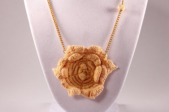 Necklace with orange yellow vintage crochet flower by November16, $26.00