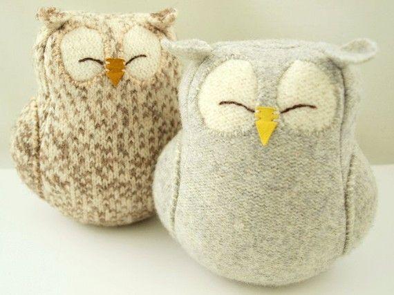 Upcycled Felted Wool Grey Sleepy Owl by formydarling