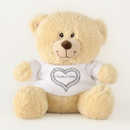 Chic modern lace heart personalized teddy bear - chic design idea diy elegant beautiful stylish modern exclusive trendy