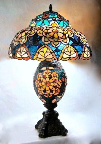 Large Double Lit Tiffany Golden Roses Lamp | EBay