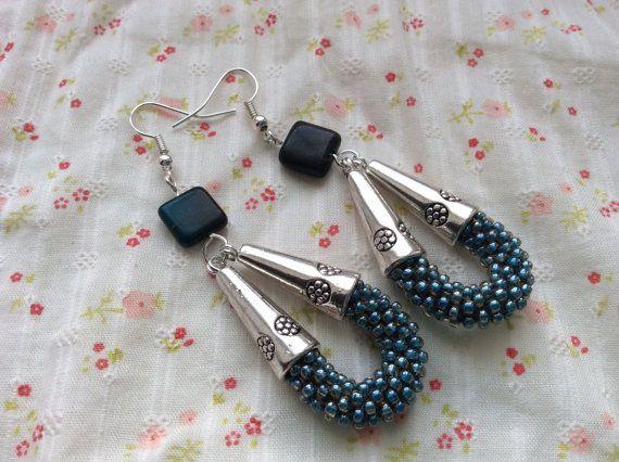 Long Light Blue seed bead crochet earrings with by SeedBySeed