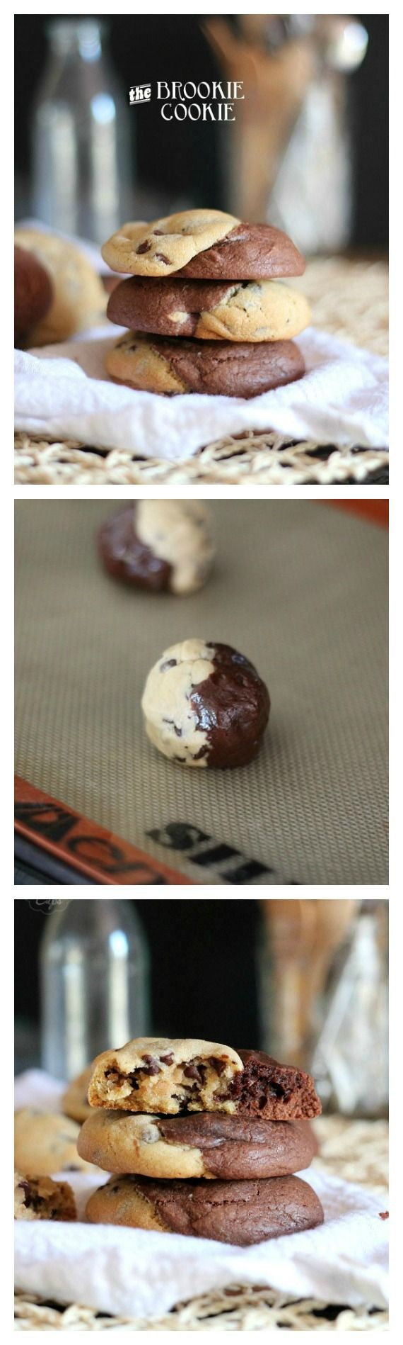 Pinning just for the name. I never realized I was a brownie and a cookie. Brookie Cookies! A brownie and a chocolate chip cookie all in one!