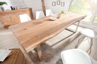 Massiver Baumstamm Tisch MAMMUT 220cm Akazie Massivholz mit Trapez - Kufengestellaus Edelstahl  6 cm dicke Tischplatte