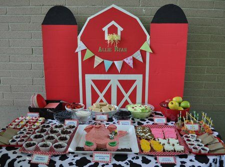 farm party.....@Amy Oppusunggu and im so making this table back drop BARN
