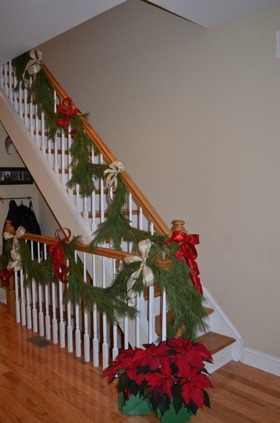 Beautiful Christmas Stair Decor With Stair Decorations