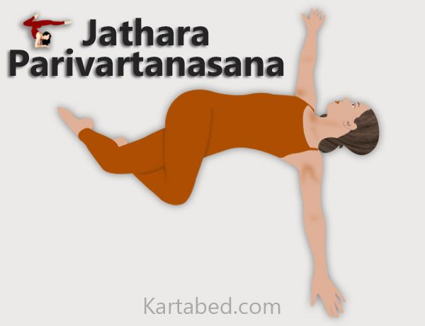 Jathara Parivartanasana - The Abdominal Twist  It is performed in the supine position and helps stretch the hips and spine while toning the belly.  This asana stretches and twists the lower back muscles, preventing and curing lower back pain. Opens the lower ribcage to allow for deeper breathing. Hydrates the discs.   People suffering from hiatal hernia, esophageal reflux syndrome or a strained SI joint should avoid practising this posture until they have fully healed.