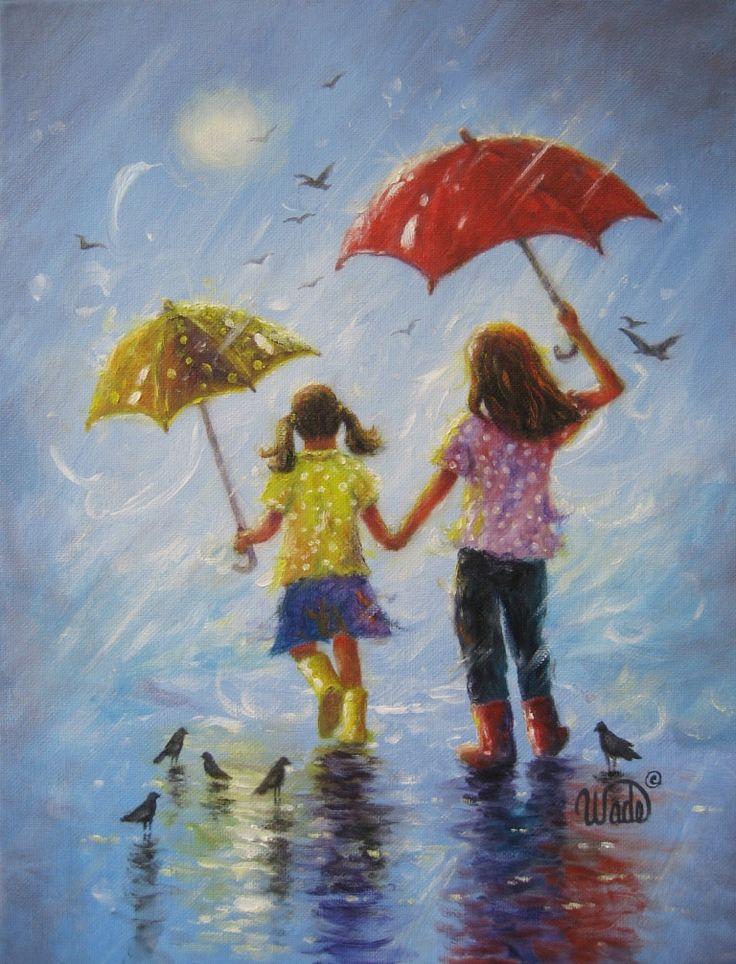 Rain sisters art print two sisters girls room wall art two girls little sis blonde childrens art blue two rain girls vickie wade art
