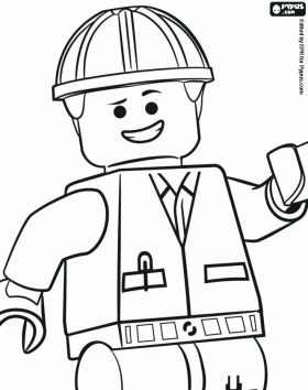 The Lego Movie coloring pages. Emmet, an ordinary person, a Lego minifigure coloring page