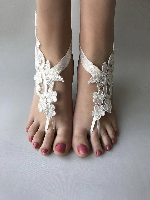 99993a0da49 ivory or white lace barefoot sandals Beach wedding barefoot  sandalswedding