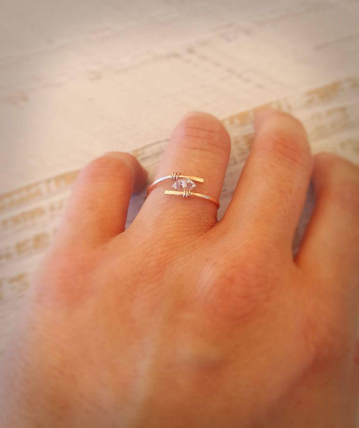 12k Filled Rose Gold Herkimer Diamond Ring » Engagement, Boho, Bohemian Jewelry, Diamond, Quartz, Crystal, Gift for Her by AelaWild on Etsy https://www.etsy.com/au/listing/272804204/12k-filled-rose-gold-herkimer-diamond