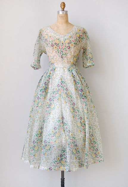 vintage 1940s sheer chevron floral dress, I can't believe this dress exists!! so beautiful!!!