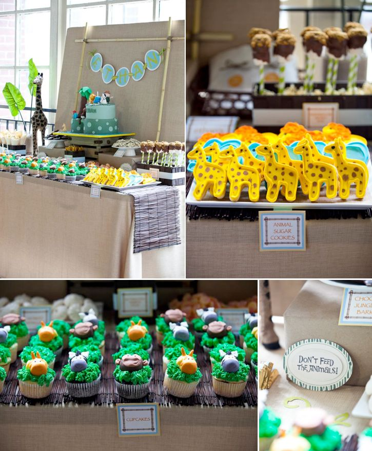 """Safari """"Wild One"""" first birthday party...love the simple linen + bamboo stick backdrop and dark bamboo table runner, which let the colorful food take center stage."""