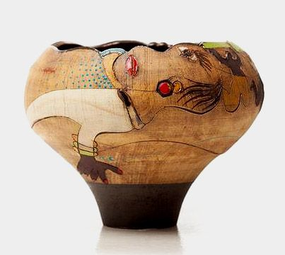 Africasso Stoneware vessel || by Imiso Ceramics | Picasso was inspired by Africa and Andile (of Africa) was inspired by Picasso, and he has created a collection of ceramic bowls that reflect an abstract sympathy with this style. His pieces dispaly a myriad of visual African stories.