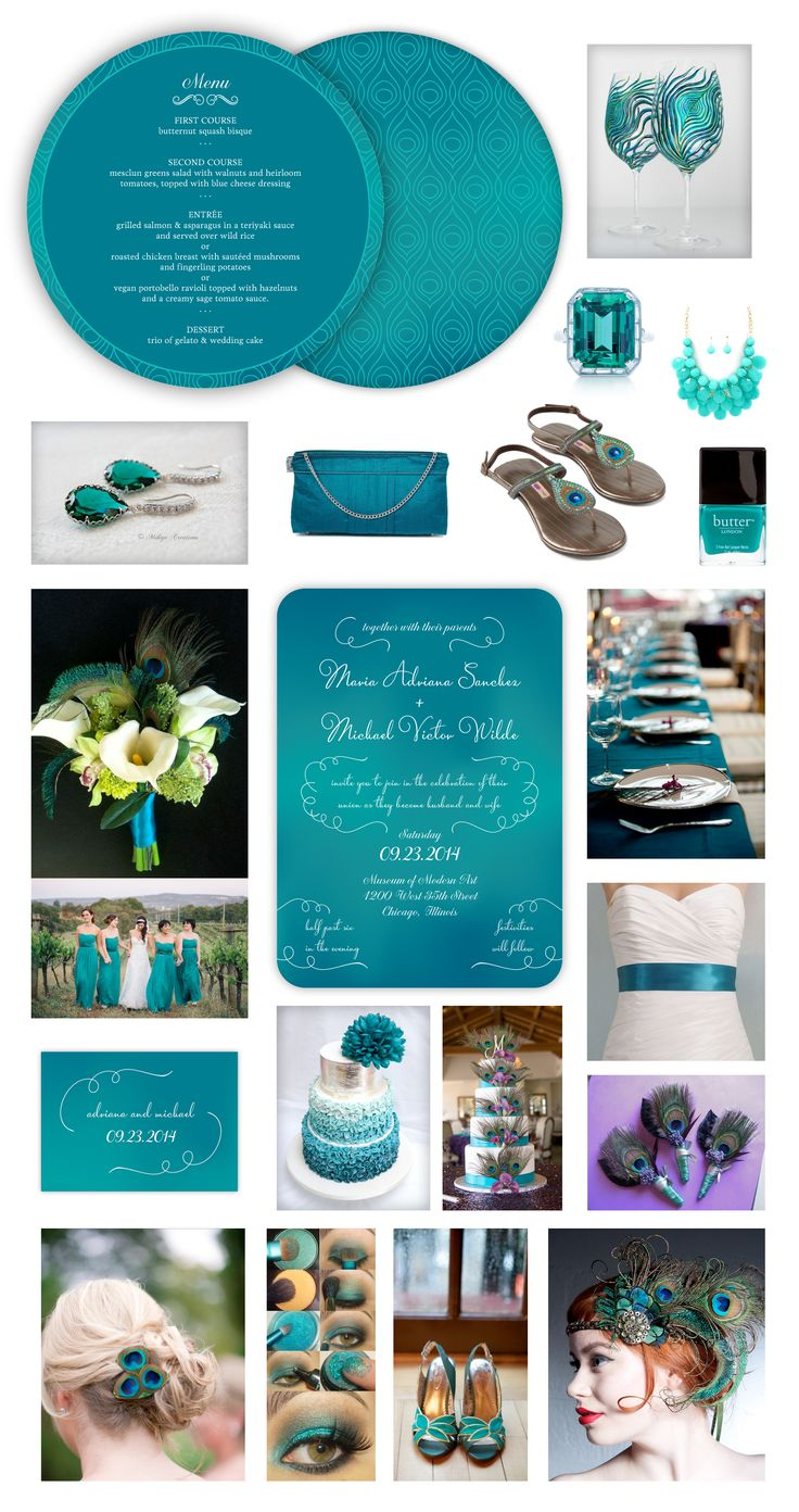 Peacock Wedding Theme --  Peacock Blue Wedding Inspiration -- Peacock Feathers -- Teal Ombre Wedding Invitation, Peacock Feather Pattern Wedding Menu & Blue Ombre Wedding Favor Card/ Gift Tag designed by Lauren DiColli Hooke for KleinfeldPaper.com