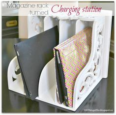diy charging station magazine rack                                                                                                                                                                                 More