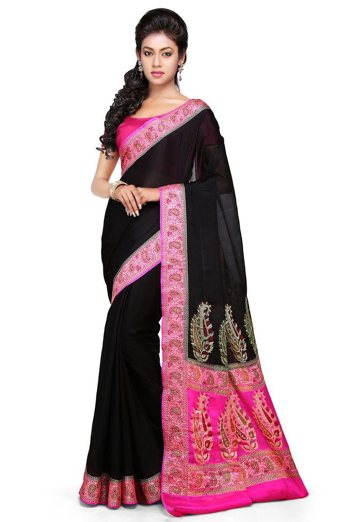 Woven Pure Georgette Saree in Black : SHR411