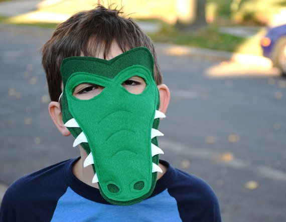 Handmade felt alligator/crocodile mask, tail