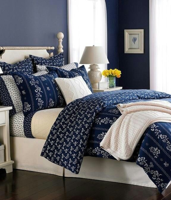 Dark Blue And White Bedroom
