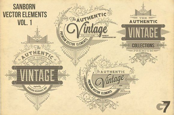 Sanborn Vector Elements Vol. 1 by G7 on @creativemarket