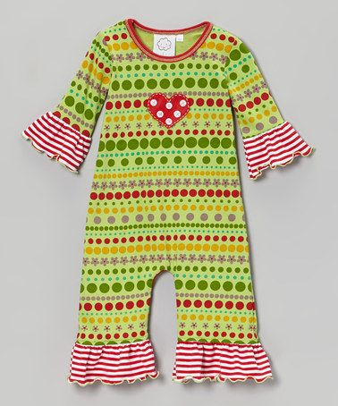 Green Ruffle Polka Dot Romper - Infant by Cloud Mine on #zulily today! Super cute clothes for girls & boys!