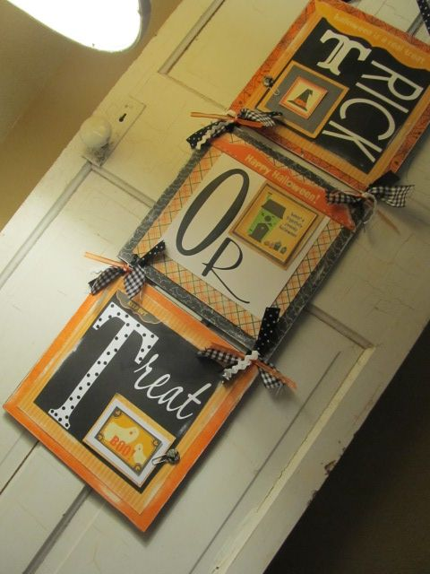 easy and CUTE trick or treat sign using foamboard and scrapbook paper!